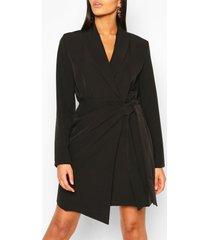 tall geweven geplooide blazer jurk met zijstrik, zwart