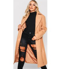 belted wool look long coat, camel