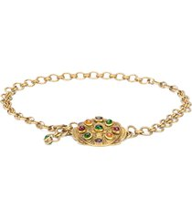 chanel pre-owned 1984 gripoix glass necklace - gold