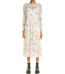 red valentino floral pleated long sleeve dress, size 8 us in latte at nordstrom