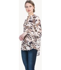 lilla p printed woven long sleeve mandarin collar tunic