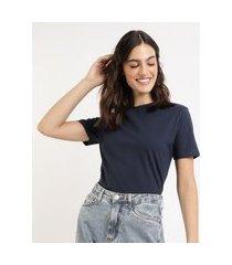 t-shirt feminina mindset básica manga curta decote redondo azul escuro
