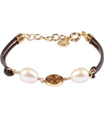 tory burch miller pearls and logo charm leather bracelet