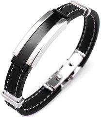 bracciale in acciaio inox nero argento