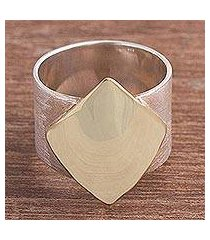 gold accented sterling silver band ring, 'golden diamond' (peru)