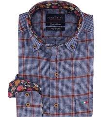 overhemd portofino blauw rood geruit