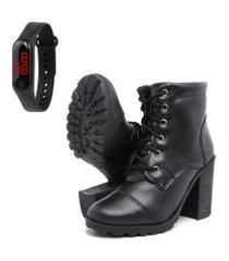 kit um par bota coturno feminino tratorada salto alto leve confortável mais relógio - preto fosco