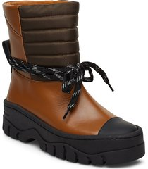 biker shoes boots ankle boots ankle boot - flat brun ganni