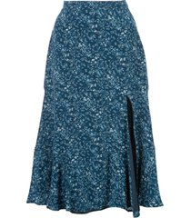 altuzarra clementine ruffled floral-print skirt - blue