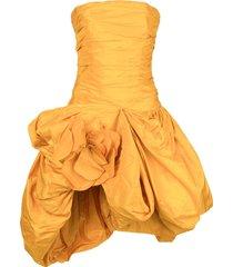 oscar de la renta gathered taffeta short dress - yellow