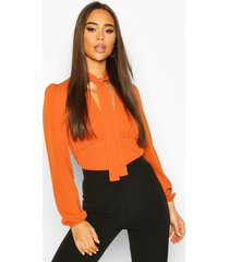 pussybow v neck blouse one piece, rust
