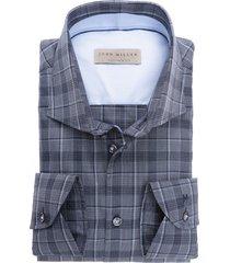 john miller tailored fit sleeve 7 grijs ruit hemd