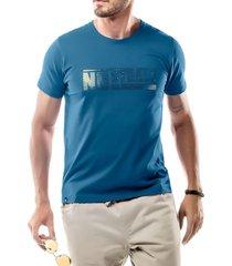 camiseta foil logo no stress azul - kanui