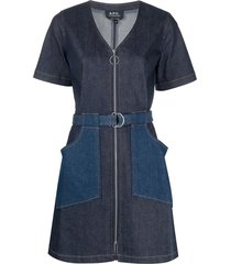 a.p.c. panelled denim mini dress - blue