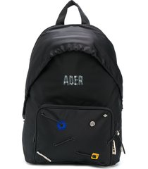 ader error logo-print hooded backpack - black