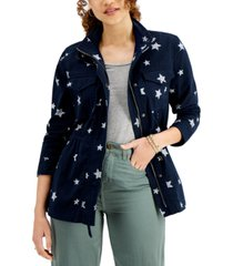 style & co printed twill zip-front jacket, created for macy's