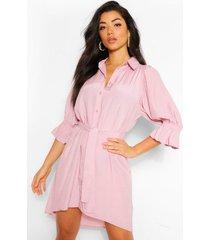 blouse jurk met pofmouwen en ceintuur, blush