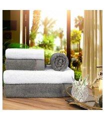 toalha de banho 100 algodáo penteado jogo com 2 banháo 2 rosto e 1 piso  branca e grafite
