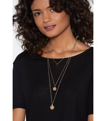 womens came through drippin' layered necklace - gold