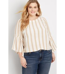 maurices plus size womens khaki stripe flutter sleeve top beige