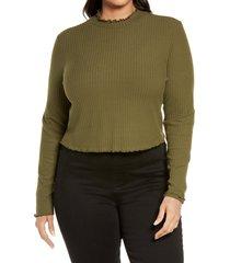 plus size women's bp. mock neck lettuce trim top, size 3x - green