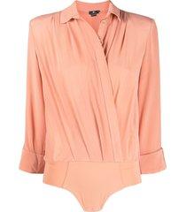 elisabetta franchi shirt-style silk bodysuit - pink