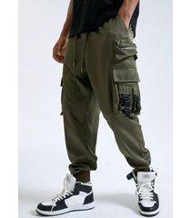 cordón liso con hebilla de cinta multibolsillos para hombre carga pantalones