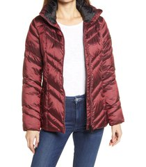 women's sam edelman chevron quilted puffer jacket, size medium - black