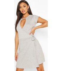 wrap cap sleeve dress, grey marl