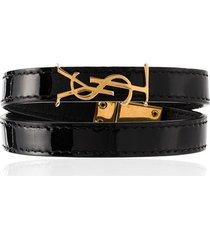 saint laurent patent logo bracelet - black