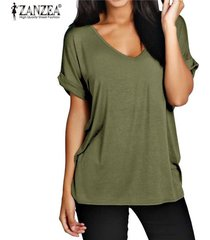 zanzea moda verano t camisas manga corta nueva floja ocasional tes de las tapas más el tamaño de cuello en v camisetas -ejercito verde