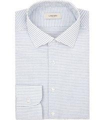 camicia da uomo su misura, canclini, seersucker blu righe orizzontali, quattro stagioni | lanieri