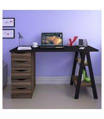 mesa escrivaninha retrô 5 gavetas e cavalete artany spirit ii preto/ipê
