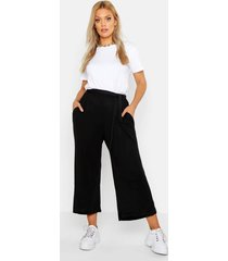 plus knitted tie waist culottes
