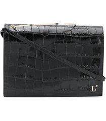 l'autre chose folder top embossed-croc effect tote bag - black
