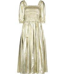 molly goddard camilla shirred dress - gold