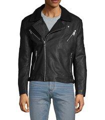 eleven paris men's faux fur-collar full-zip moto jacket - black - size m