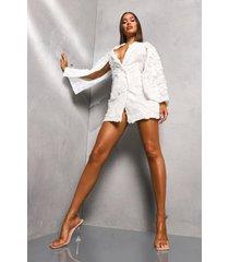 premium mantel achtige blazer jurk, ivory