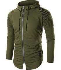 ruched drawstring zipper hoodie