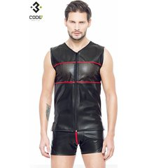 * code8 by xxx collection eco-leder mouwloos shirt met rode bies