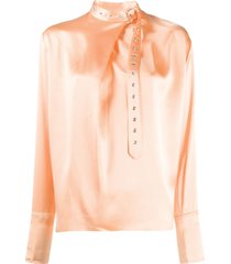 marques'almeida silk belted collar blouse - pink