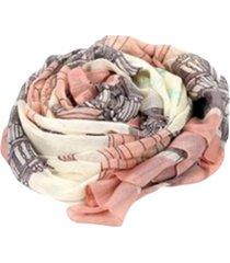 lenço de chiffon echarpe floral rosé e cinza
