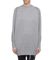 zip shoulder merino wool sweater