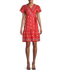stellah women's floral flutter-sleeve dress - red - size l