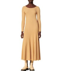 women's sandro ribbed long sleeve sweater dress, size 8 us - beige