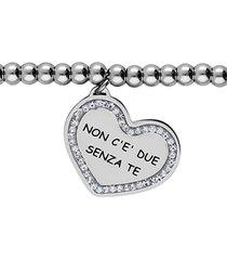 bracciale 'non c'è due senza te' in acciaio e strass per donna