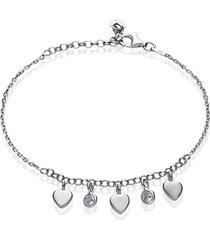 bracciale in argento rodiato con ciondoli cuore e zirconi per donna