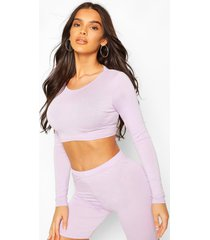 crew neck long sleeved crop top, lilac