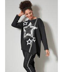 sweatshirt angel of style zwart::zilverkleur