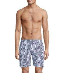 tom & teddy men's skin printed swim trunks - blue - size s